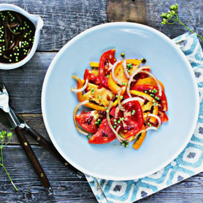 Tomato Salad with Balsamic Pickled Shallots