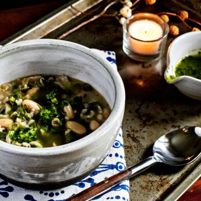 Mixed Greens Soup with Cilantro Pistou